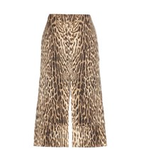 Chloe Printed Cotton Blend Jacquard Skirt Brown
