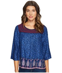 Lucky Brand Embroidered Border Peasant Top Navy Multi Women's Long Sleeve Pullover Blue