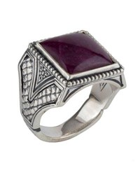 Konstantino Men's Sterling Silver Signet Ring With Ruby Root