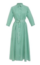 Mds Stripes Belted Midi Shirtdress Green