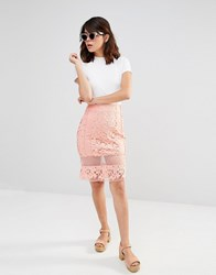 J.O.A Lace Sheer Panel Skirt Peach Pink