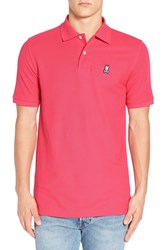 Psycho Bunny Men's Classic Pique Pima Cotton Polo Rouge