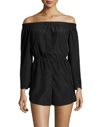 Romeo And Juliet Couture Chiffon Off The Shoulder Romper Black