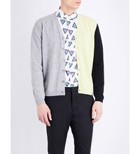 Kenzo Colour Block Wool And Cashmere Blend Cardigan Dove Grey