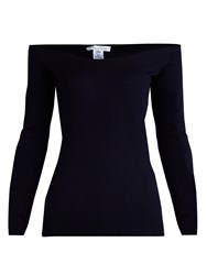 Oscar De La Renta Off The Shoulder Chiffon Sleeve Sweater Navy