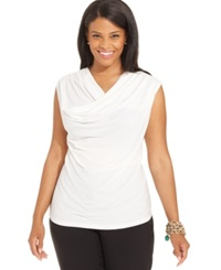 Jones New York Collection Plus Size Sleeveless Cowl Neck Top Ivory