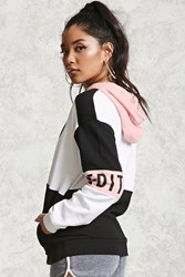 Forever 21 Unedited Colorblock Hoodie White Black