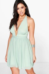 Boohoo Chiffon Deep V Ruched Skater Dress Green