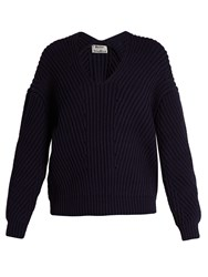 Acne Studios Bernice Chunky Cotton Blend Sweater Navy