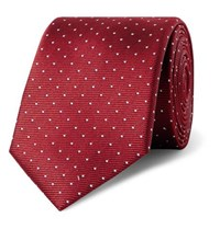 Lanvin 7Cm Pin Dot Silk Faille Tie Claret
