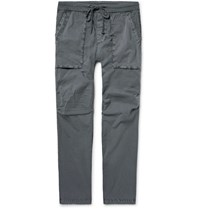 James Perse Slim Fit Stretch Cotton Poplin Cargo Trousers Gray