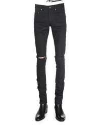 Saint Laurent Split Knee Destroyed Denim Jeans Black