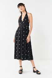 Urban Outfitters Uo Betsey Embroidered Halter Midi Dress Black