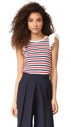 Sonia Rykiel By T Shirt With Frills Red Blue Stripe
