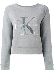 Calvin Klein Jeans Logo Knitted Sweater Grey