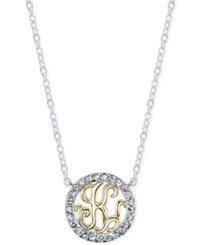 Unwritten Initial 'K' Pendant Necklace With Crystal Pave Circle In Sterling Silver And Gold Flash Two Tone