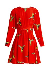Diane Von Furstenberg Aurora Phoenix Print Silk Mini Dress Red Print