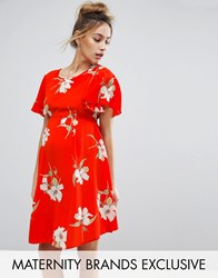 Queen Bee Floral Tea Dress With Tie Back Red