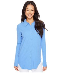 Mod O Doc Textured Slub Stripe Back Crossover Button Front Shirt Peri Women's Clothing Blue