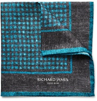 Richard James Printed Silk Twill Pocket Square Blue