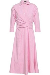 Raoul Woman Pleated Striped Cotton Poplin Midi Shirt Dress Pink