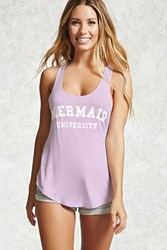 Forever 21 Mermaid Graphic Pj Tank Top Lavender White