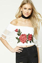 Forever 21 Floral Patch Ruffled Crop Top Ivory