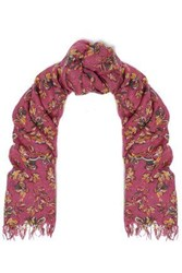 Chan Luu Woman Frayed Floral Print Cashmere And Silk Blend Scarf Magenta