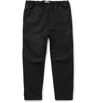 Oamc Slim Fit Tapered Cropped Cotton Trousers Black