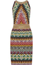 Missoni Metallic Crochet Knit Dress Green