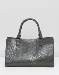 Glamorous Moc Croc Structured Tote Bag In Grey Grey