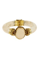 Bansri Kareena Agate Wooden Bangle Bracelet Beige