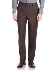 Canali Twill Trousers Brown