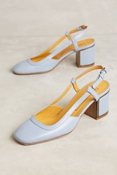 Anthropologie Veronique Branquinho Leather Slingback Heels Blue