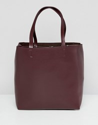 French Connection Liv Leather Tote Bag Baked Cherry Red