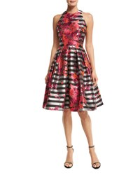 Carmen Marc Valvo Sleeveless Striped Fit And Flare Dress Multicolor