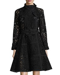 Sacai Lace Fit And Flare Trench Coat Black