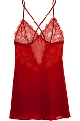 Heidi Klum Intimates Valerie Lace And Silk Chiffon Chemise Red