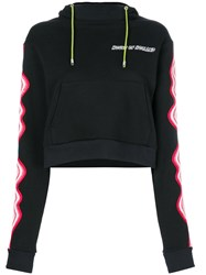House Of Holland Cropped Hypnotic Hoodie Black