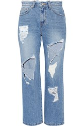 Steve J And Yoni P Cropped Distressed High Rise Straight Leg Jeans Mid Denim