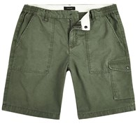 River Island Mens Green Slim Fit Cargo Shorts