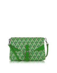 Lancaster Paris Ikon Coated Canvas And Leather Mini Clutch Green