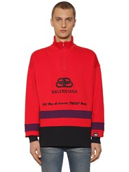 Balenciaga Ski Cotton Turtleneck Sweater Red