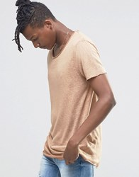 Asos Longline T Shirt In Linen Look With Curved Hem Camel Tan
