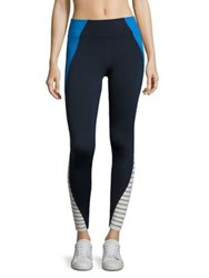 Heroine Sport Striped Tread Leggings Navy White