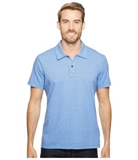 Agave Short Sleeve Polo Italian Pique In Chambray Chambray Men's Clothing White