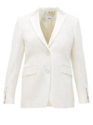 Burberry Single Breasted Satin Lapel Wool Jacket White