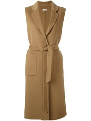 P.A.R.O.S.H. 'Lovely' Sleeveless Coat Brown
