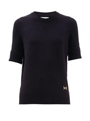 Barrie Ribbed Cuff Logo Plaque Cashmere Sweater Dark Navy