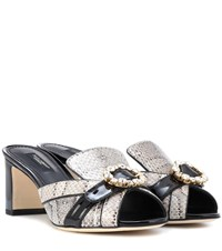 Dolce And Gabbana Snakeskin Leather Mules Black